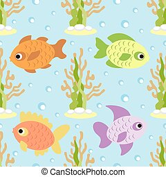 Seamless background card with fish
