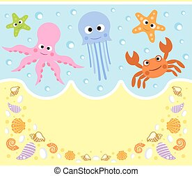 Sea animals cartoon background