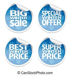 Winter set sale stickers ,vector