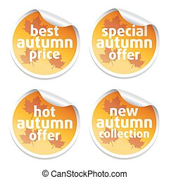 Set with offer sale autumn stickers