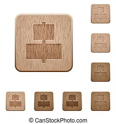Align to center wooden buttons - Set of carved wooden Align...