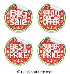 Set of Christmas sale stickers
