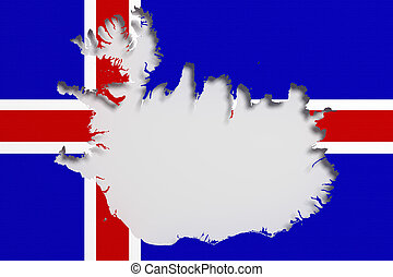Silhouette of Iceland map with flag - 3d rendering of...