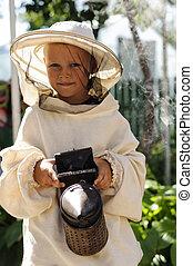 joven, apicultor, niño, Utilizar, Un, fumador, en, abeja,...