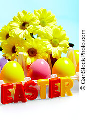 Happy Easter - Image of colored letters with painted Easter...