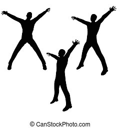 man silhouette in excited pose - EPS 10 vector illustration...
