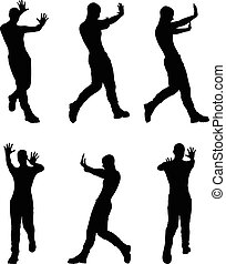 man silhouette in stop, push pose - EPS 10 vector...