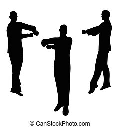 man silhouette in blaming pose - EPS 10 vector illustration...