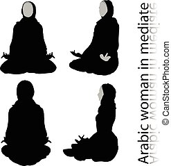 Arabic woman silhouette in meditating pose, isolated on...