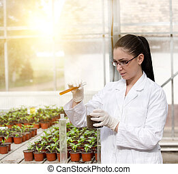 Biologist with test tube in greenhouse - Young woman...