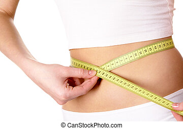 Measuring waist - Close-up of female belly with measuring...