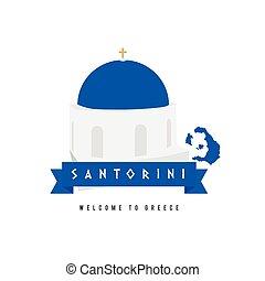 santorini island greece symbol in blue and white...
