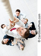Crucial moment - Above view of businessman ascending up the...