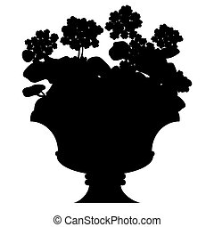 Silhouette of blooming flowers in a vase