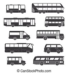Passenger Bus Icons Black - Set Of Black Silhouettes...