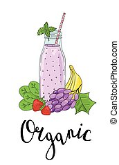 Bottle smoothies with fruits, vegetables and the phrase an...