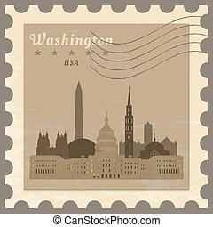 Post stamp Washington. - Grunge rubber post stamp with name...