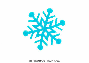 blue snowflake made of felt on a white background