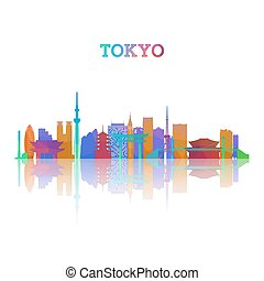 Tokyo skyline silhouete in geometric style. Japan symbol for...