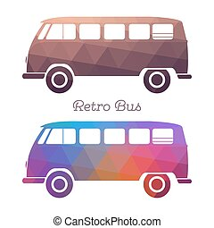 Retro hippie van silhouette. Vintage mini bus. Vector...
