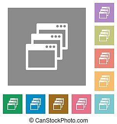 Cascade window view mode square flat icons - Cascade window...