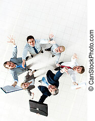 Success in business - Above view of several successful...