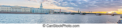 Beatiful view Neva river in Saint Petersburg, Russia - The...