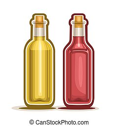 Red and Yellow Wine Bottles - Vector logo Red and Yellow...