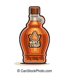 Vector logo Maple Syrup Bottle, cartoon cruet sweet maple...