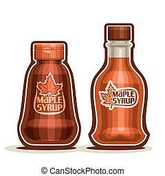 Vector logo Maple Syrup Bottles, jar sweet maple nectar with...