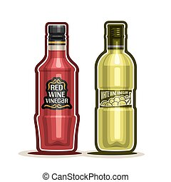 Wine Vinegar Bottles - Vector logo Red and White Wine...