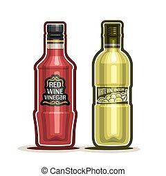 Wine Vinegar Bottles - Vector logo Red and White Wine...