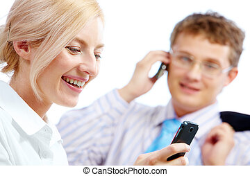 Woman with cellular phone - Image of confident woman writing...