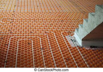 Underfloor heating with stairs - Orange Underfloor heating...
