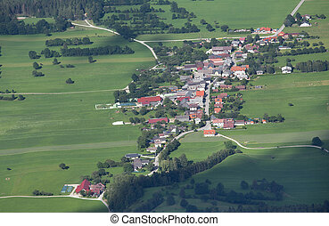 Aerial view of mountain village - Arial view of...