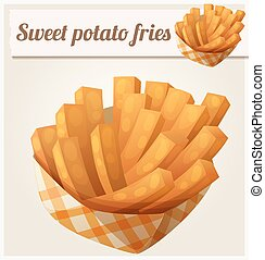 Sweet potato fries in paper box. Detailed vector icon....