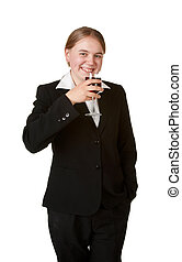 young business woman with glass wine