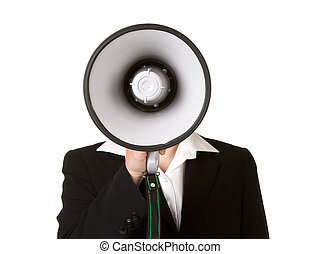 young business woman with megaphone isolated white...