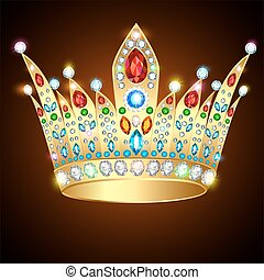 Illustration royal shiny gold crown with precious stones and...