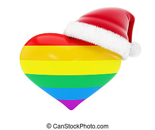 homosexuality heart santa hat on black background 3d...