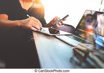 Businessman hand attending video conference with digital...
