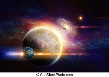 Fantastic space background - aliens planet system in deep...