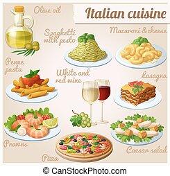 Set of food icons. Italian cuisine. Spaghetti with pesto, lasagna, penne pasta tomato sauce, pizza, olive oil, macaroni and cheese, red white wine in glasses, prawns caesar salad