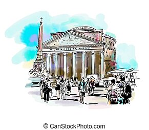 watercolor travel card from Rome Italy - original freehand...