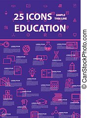 25 thin line simple and beautiful icons for use in education...