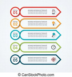 Infographic arrow design template with 5 options