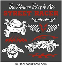 Car racing badges and elements Graphic design for t-shirt -...