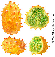Isolated horned melon - Isolated kiwano Collection of whole...