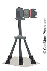 Photo camera on tripod vector illustration - Side view of...