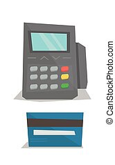Credit card payment vector illustration - Bank terminal and...
